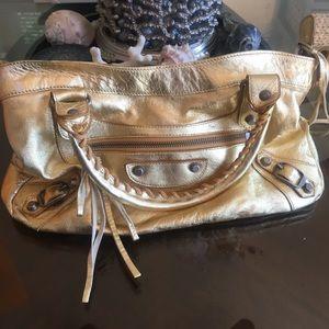 Balenciaga Gold Metallic Leather Studded bag